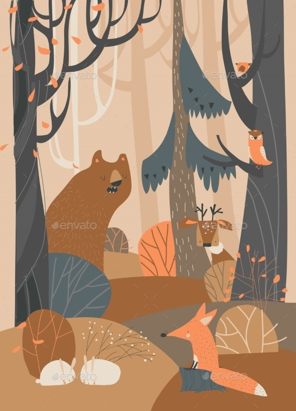 Cartoon Animals in Autumn Colored Forest - Animals Characters