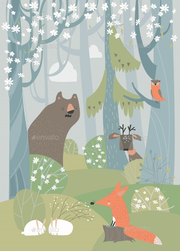 Cartoon Cute Animals in Spring Blossom Forest - Animals Characters