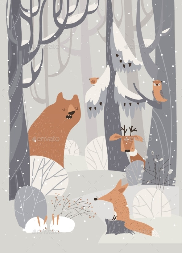 Cartoon Animals Meeting Winter in Forest - Animals Characters