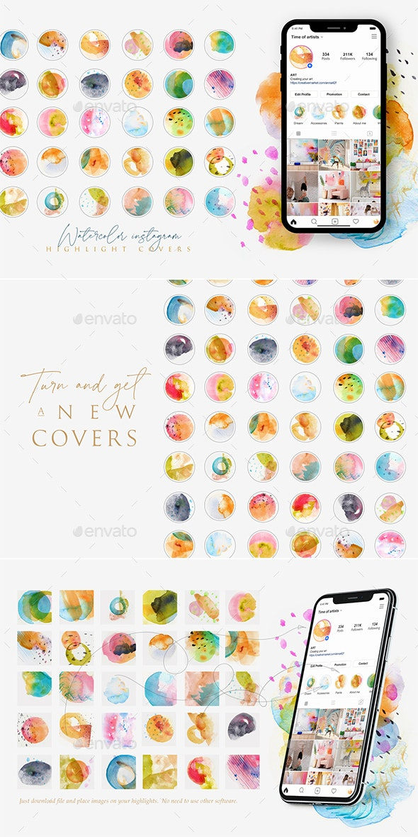 Watercolor Insta Highlight Covers - Social Media Web Elements