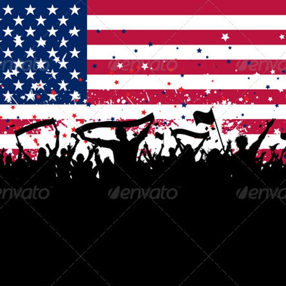 Party crowd on American flag