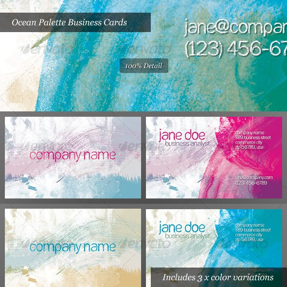 Ocean Palette Business Cards for Artists and Painters