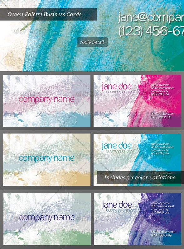 Ocean Palette Business Cards for Artists and Painters - Grunge Business Cards
