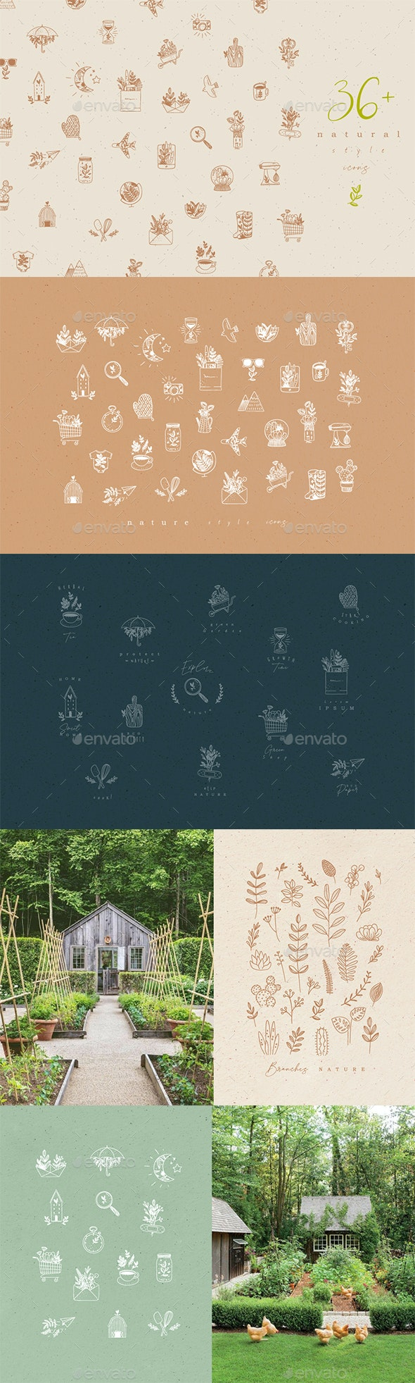 36 Natural Style Icons - Nature Conceptual