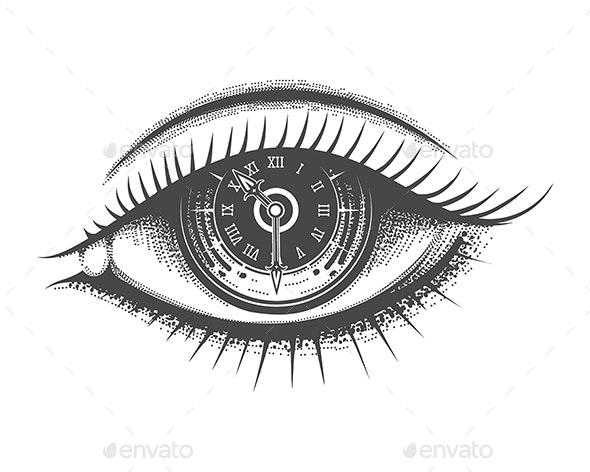 Clock Face Inside Human Eye Hand Drawn Tattoo - Tattoos Vectors