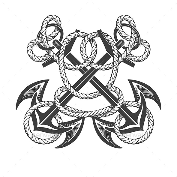Crossed Anchors in Ropes Nautical Tattoo - Tattoos Vectors