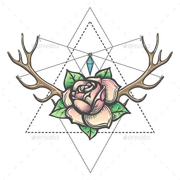 Rose Flower with Antlers Horns and Gem Mystic Illustration - Tattoos Vectors