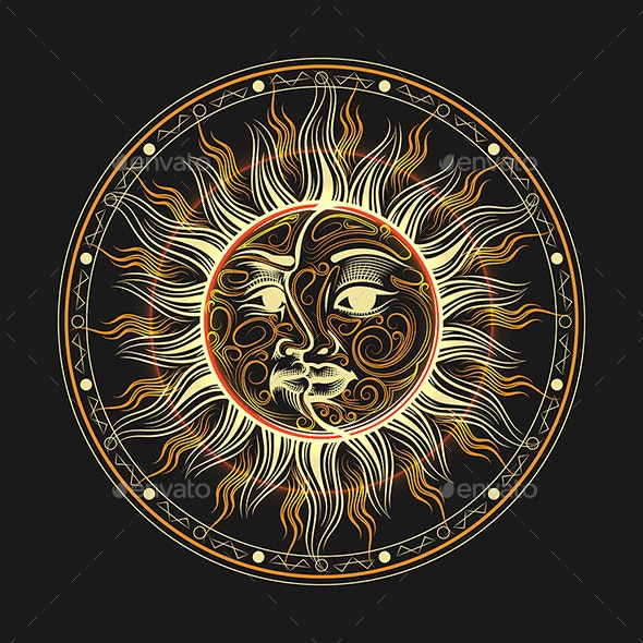 Sun and Moon Occult Alchemy Symbol Emblem - Miscellaneous Characters