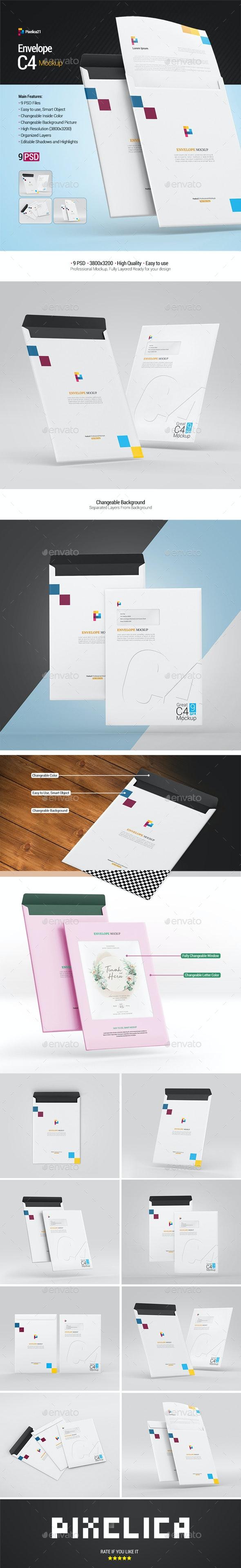 Envelope C4 Mockup - Product Mock-Ups Graphics