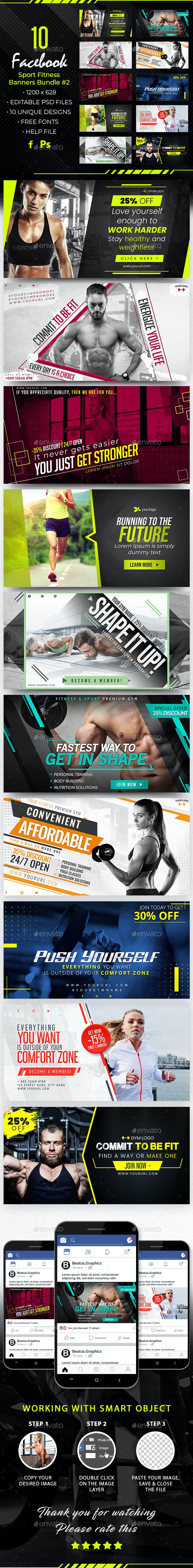 Facebook Sport Fitness Banners Bundle - Web Elements