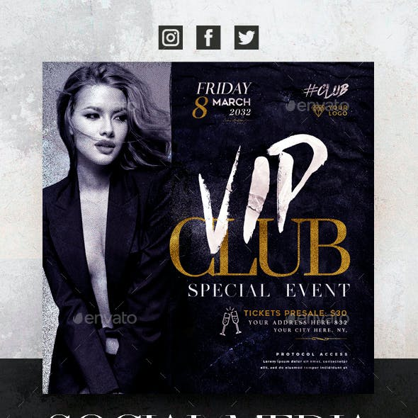 Vip Club Social Media Pack + Flyer Template