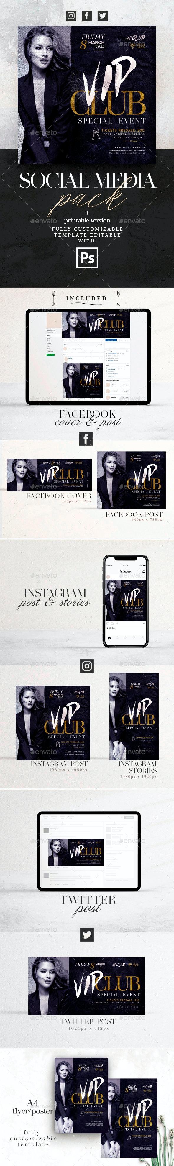 Vip Club Social Media Pack + Flyer Template - Social Media Web Elements