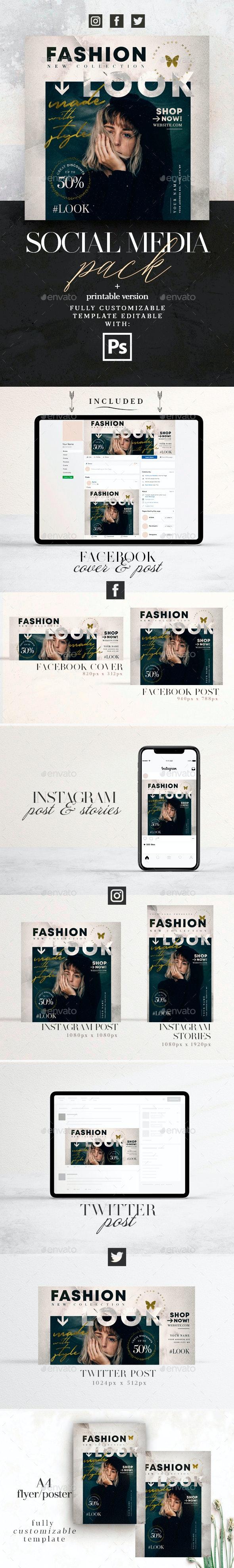 Fashion Look Social Media Pack + Flyer Template - Social Media Web Elements