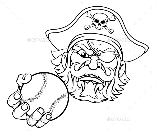 Pirate Baseball Ball Sports Mascot Cartoon - Sports/Activity Conceptual