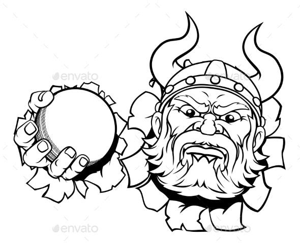Viking Cricket Ball Sports Mascot Cartoon - Sports/Activity Conceptual