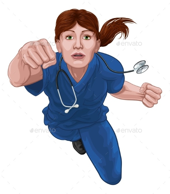 Nurse Doctor Woman Super Hero Medical Concept - People Characters