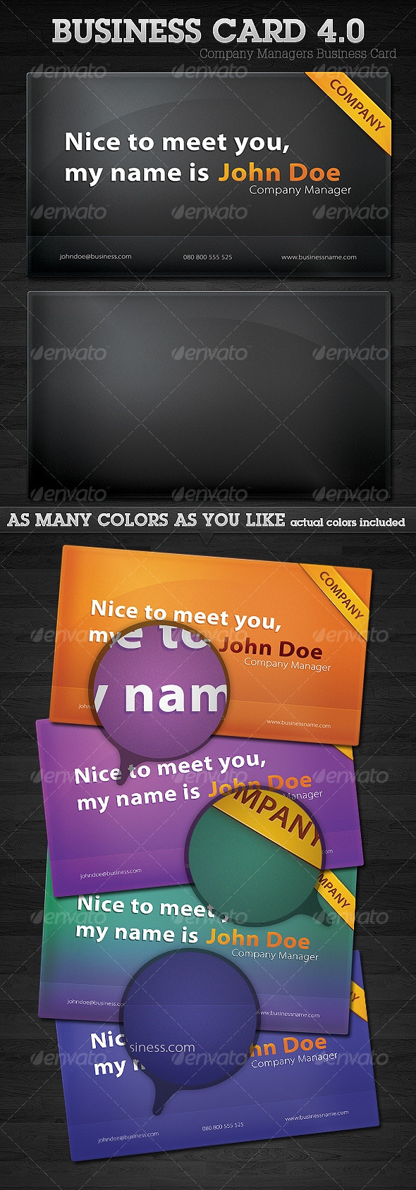Company Managers Business Card 4.0 - Corporate Business Cards