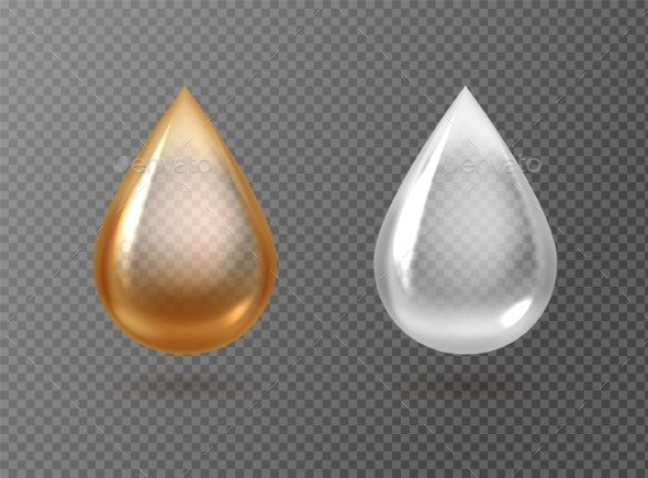 Realistic Oil and Cream Drops Golden and White - Miscellaneous Vectors