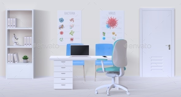 Doctor Office Interior Realistic 3D Empty Clinic - Health/Medicine Conceptual