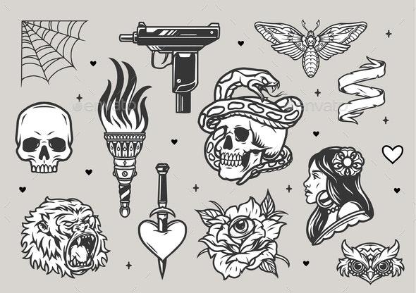 Vintage Tattoos Set - Animals Characters