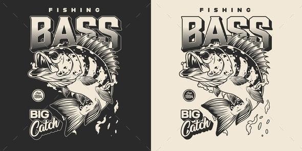 Vintage Fishing Monochrome Print - Miscellaneous Vectors
