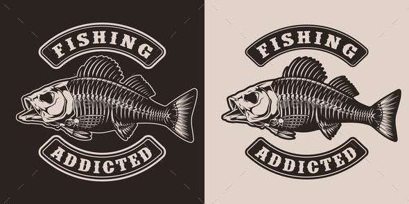 Fishing vintage monochrome print - Miscellaneous Vectors