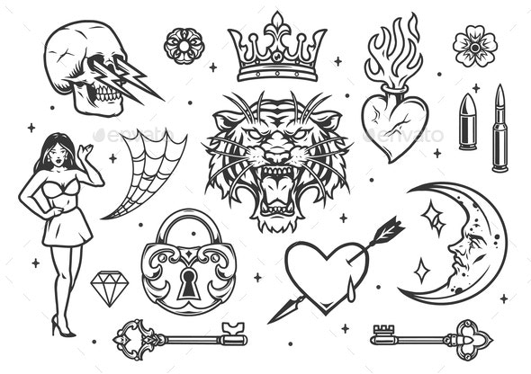 Monochrome vintage tattoos composition - Miscellaneous Vectors