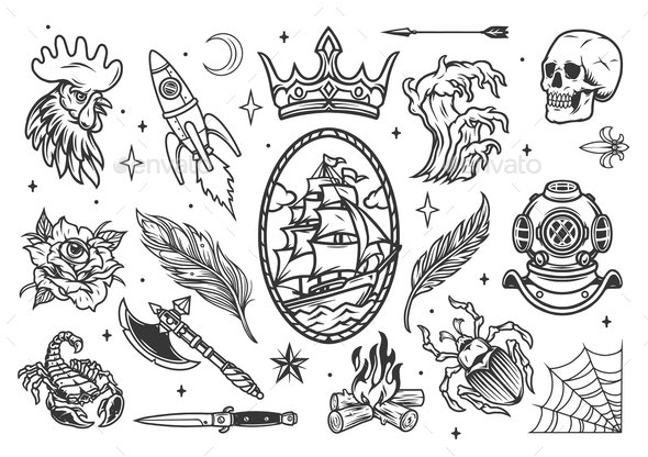 Monochrome tattoos set - Miscellaneous Vectors