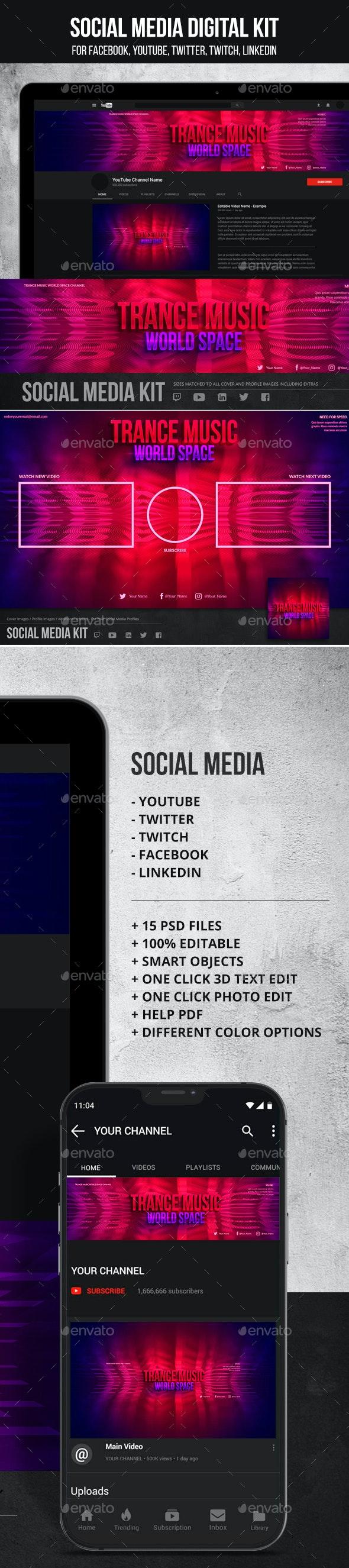 Social Media Profiles - Art Kit - Social Media Web Elements