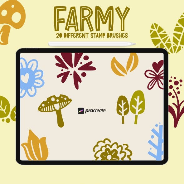 Farmy - 20 Procreate Stamp Brush