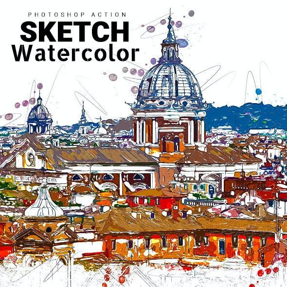 Sketch Watercolor Photoshop Action