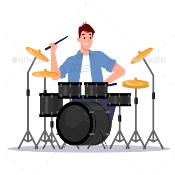 Drum Kit Set Musician Beats Cymbals By Drumsticks
