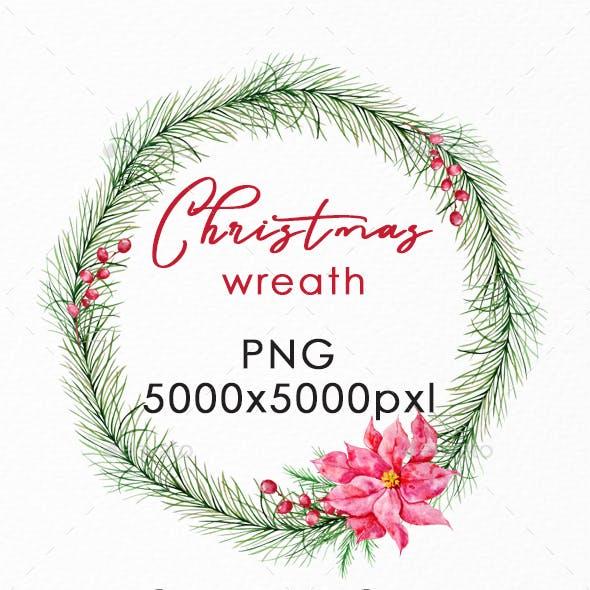 Christmas Wreath PNG, Watercolor Winter Single Wreath