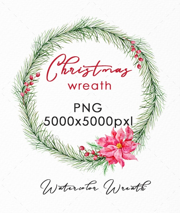 Christmas Wreath PNG, Watercolor Winter Single Wreath - Illustrations Graphics