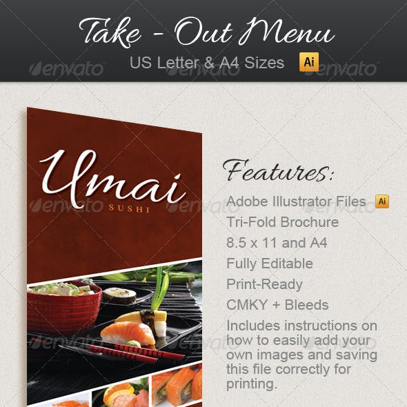 Restaurant Take-Out Menu Trifold Brochure