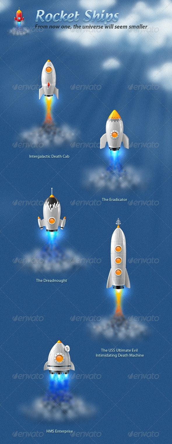 Rocket Ships - Objects Illustrations