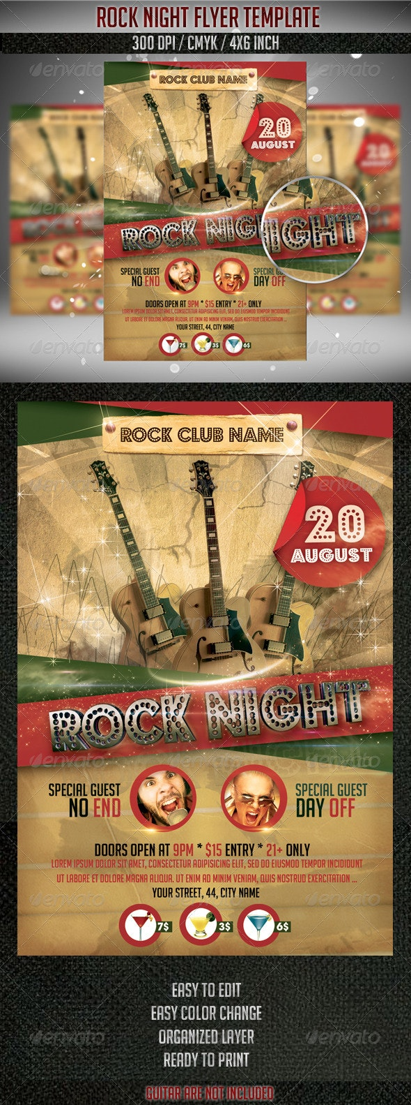 Rock Night Flyer Template - Clubs & Parties Events