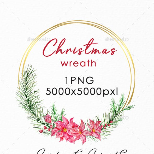 Christmas Wreath Gold PNG, Watercolor Winter Wreath