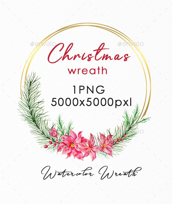 Christmas Wreath Gold PNG, Watercolor Winter Wreath - Illustrations Graphics