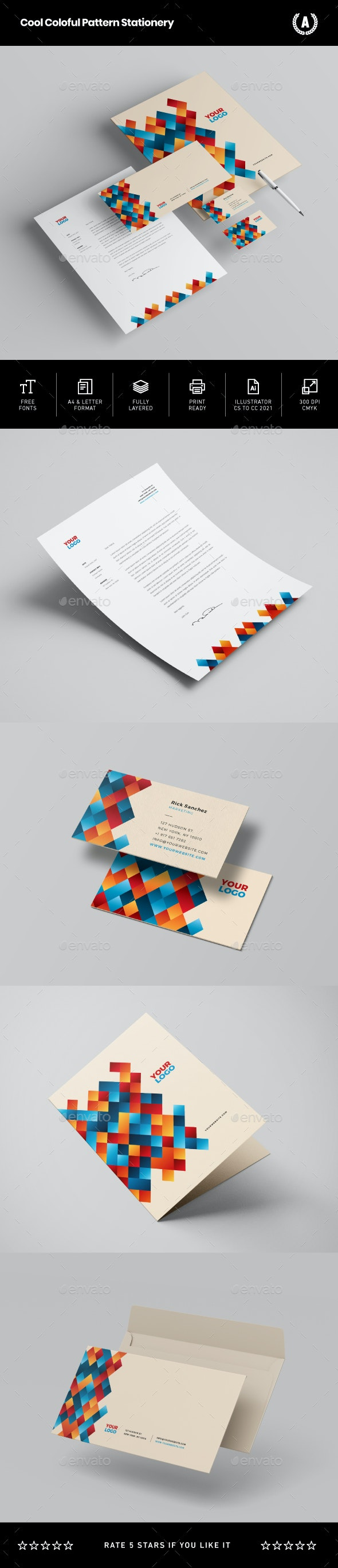 Cool Colorful Pattern Stationery - Stationery Print Templates