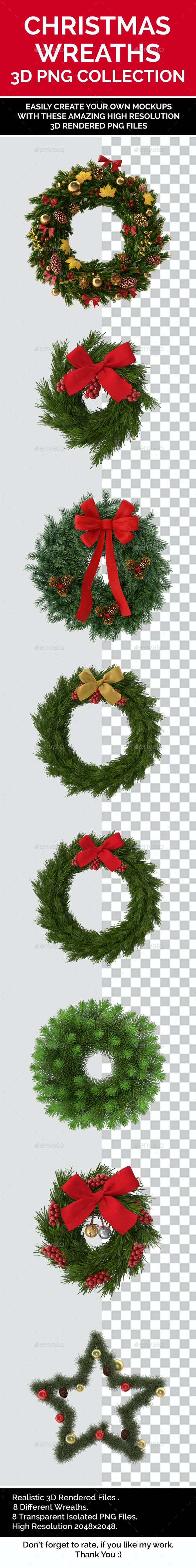 3D Rendered Christmas Wreath Collections Isolated PNG Set - Objects 3D Renders