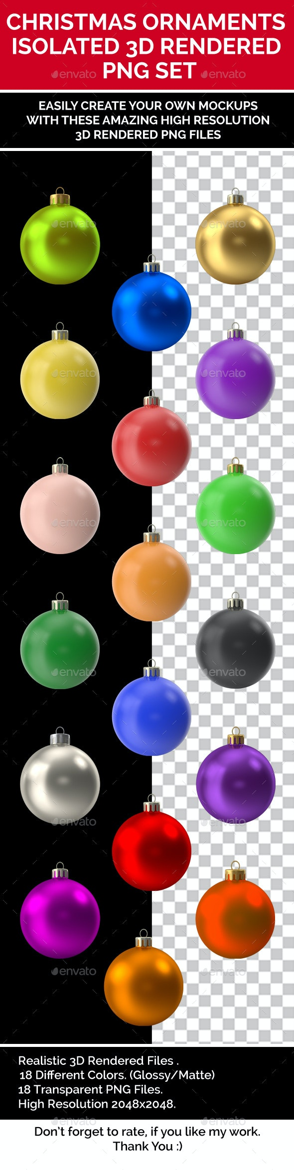 Christmas Ornaments Isolated 3D Rendered PNG Collection Multi color - Objects 3D Renders
