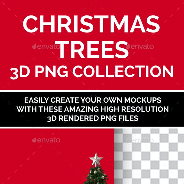 Christmas Trees Collection 3D Rendered Isolated PNG Set