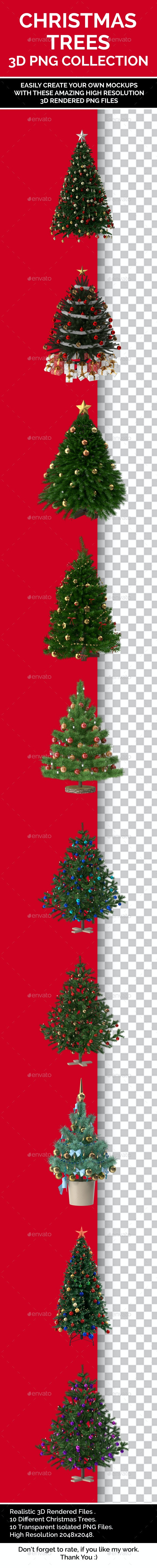 Christmas Trees Collection 3D Rendered Isolated PNG Set - Objects 3D Renders