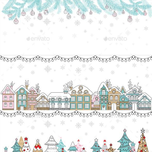 3 horizontal Winter Christmas banners