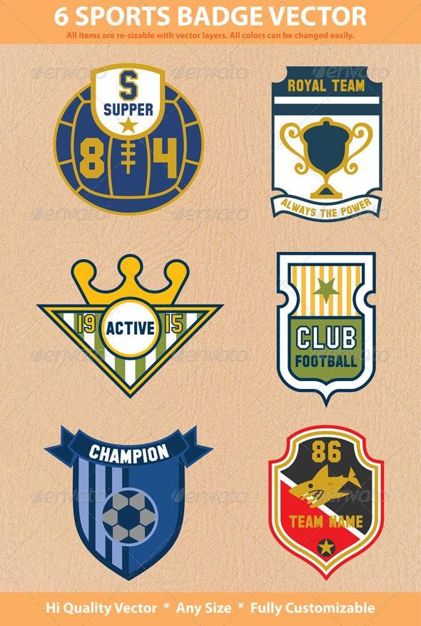 6 Sports Badges - Sports/Activity Conceptual