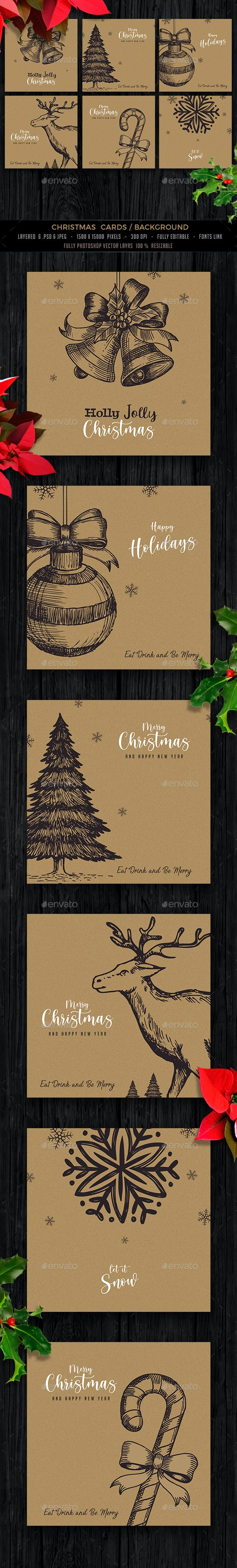 Hand Drawn Christmas Card - Backgrounds Graphics