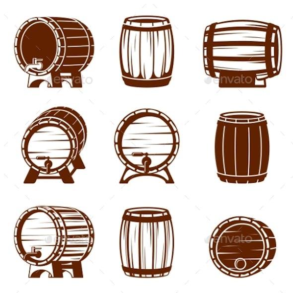 Retro Wooden Barrels Set