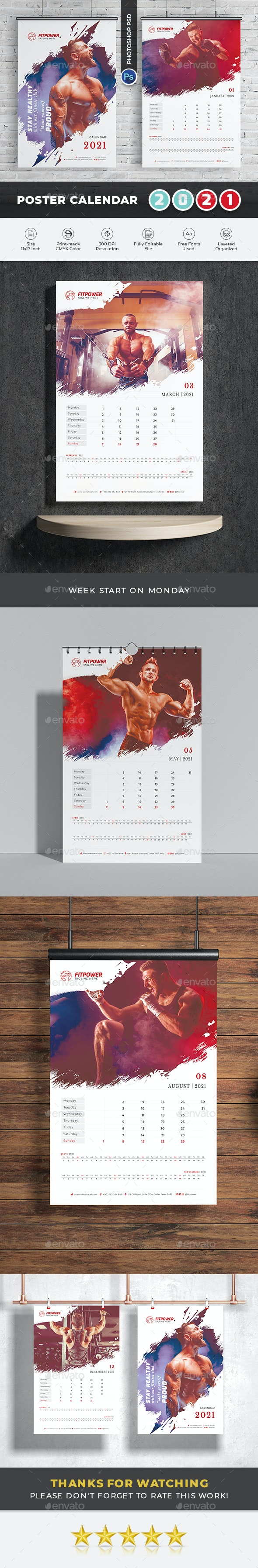 2021 Poster-Calendar Template by didargds   GraphicRiver