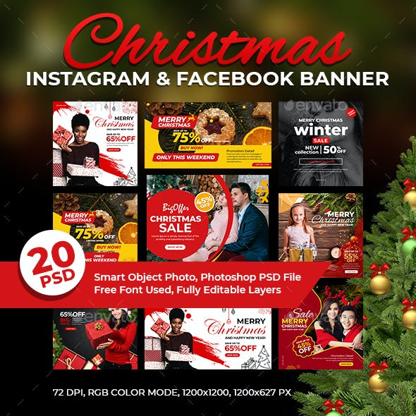 20-Christmas Instagram & Facebook Banners